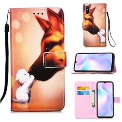 Hound Kiss Matte Leather Wallet Phone Case for Xiaomi Redmi 9A