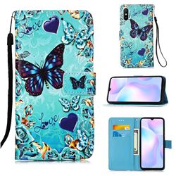 Love Butterfly Matte Leather Wallet Phone Case for Xiaomi Redmi 9A