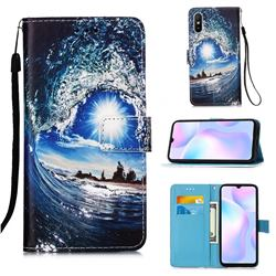 Waves and Sun Matte Leather Wallet Phone Case for Xiaomi Redmi 9A