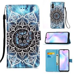 Underwater Mandala Matte Leather Wallet Phone Case for Xiaomi Redmi 9A