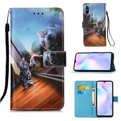 Mirror Cat Matte Leather Wallet Phone Case for Xiaomi Redmi 9A