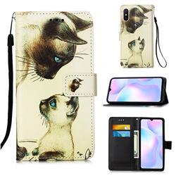 Cat Confrontation Matte Leather Wallet Phone Case for Xiaomi Redmi 9A