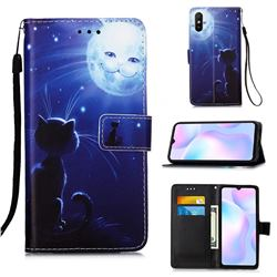 Cat and Moon Matte Leather Wallet Phone Case for Xiaomi Redmi 9A
