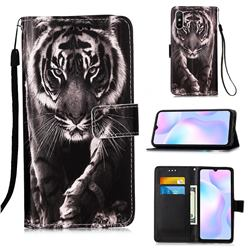 Black and White Tiger Matte Leather Wallet Phone Case for Xiaomi Redmi 9A