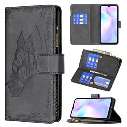 Binfen Color Imprint Vivid Butterfly Buckle Zipper Multi-function Leather Phone Wallet for Xiaomi Redmi 9A - Black
