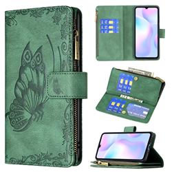 Binfen Color Imprint Vivid Butterfly Buckle Zipper Multi-function Leather Phone Wallet for Xiaomi Redmi 9A - Green