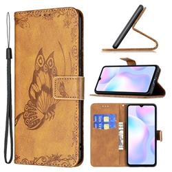 Binfen Color Imprint Vivid Butterfly Leather Wallet Case for Xiaomi Redmi 9A - Brown