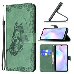 Binfen Color Imprint Vivid Butterfly Leather Wallet Case for Xiaomi Redmi 9A - Green