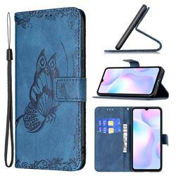 Binfen Color Imprint Vivid Butterfly Leather Wallet Case for Xiaomi Redmi 9A - Blue