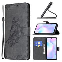 Binfen Color Imprint Vivid Butterfly Leather Wallet Case for Xiaomi Redmi 9A - Black