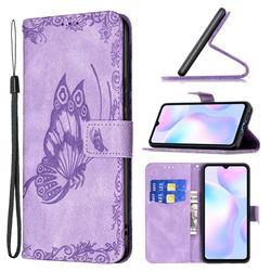 Binfen Color Imprint Vivid Butterfly Leather Wallet Case for Xiaomi Redmi 9A - Purple