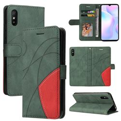 Luxury Two-color Stitching Leather Wallet Case Cover for Xiaomi Redmi 9A - Green