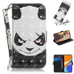 Angry Bear 3D Painted Leather Wallet Phone Case for Xiaomi Redmi 9C