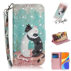 Black and White Cat 3D Painted Leather Wallet Phone Case for Xiaomi Redmi 9C