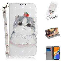 Cute Tomato Cat 3D Painted Leather Wallet Phone Case for Xiaomi Redmi 9C