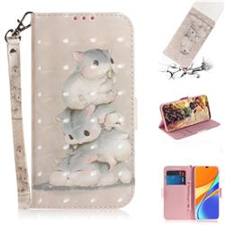 Three Squirrels 3D Painted Leather Wallet Phone Case for Xiaomi Redmi 9C
