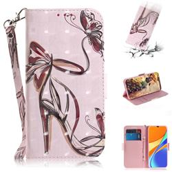 Butterfly High Heels 3D Painted Leather Wallet Phone Case for Xiaomi Redmi 9C
