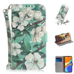 Watercolor Flower 3D Painted Leather Wallet Phone Case for Xiaomi Redmi 9C