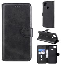 Retro Calf Matte Leather Wallet Phone Case for Xiaomi Redmi 9C - Black