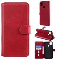 Retro Calf Matte Leather Wallet Phone Case for Xiaomi Redmi 9C - Red