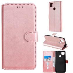 Retro Calf Matte Leather Wallet Phone Case for Xiaomi Redmi 9C - Pink