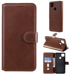 Retro Calf Matte Leather Wallet Phone Case for Xiaomi Redmi 9C - Brown