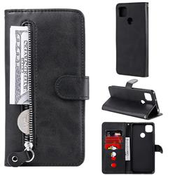 Retro Luxury Zipper Leather Phone Wallet Case for Xiaomi Redmi 9C - Black