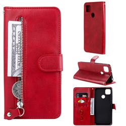 Retro Luxury Zipper Leather Phone Wallet Case for Xiaomi Redmi 9C - Red