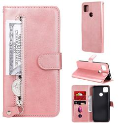 Retro Luxury Zipper Leather Phone Wallet Case for Xiaomi Redmi 9C - Pink