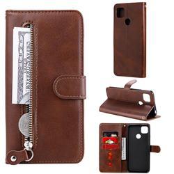 Retro Luxury Zipper Leather Phone Wallet Case for Xiaomi Redmi 9C - Brown
