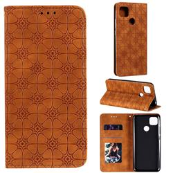 Intricate Embossing Four Leaf Clover Leather Wallet Case for Xiaomi Redmi 9C - Yellowish Brown