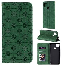 Intricate Embossing Four Leaf Clover Leather Wallet Case for Xiaomi Redmi 9C - Blackish Green