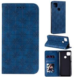 Intricate Embossing Four Leaf Clover Leather Wallet Case for Xiaomi Redmi 9C - Dark Blue