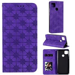 Intricate Embossing Four Leaf Clover Leather Wallet Case for Xiaomi Redmi 9C - Purple
