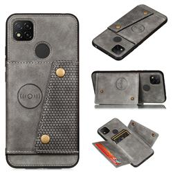 Retro Multifunction Card Slots Stand Leather Coated Phone Back Cover for Xiaomi Redmi 9C - Gray