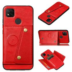 Retro Multifunction Card Slots Stand Leather Coated Phone Back Cover for Xiaomi Redmi 9C - Red