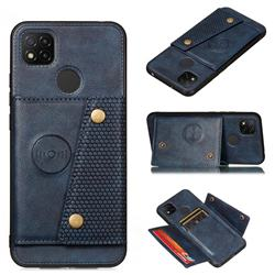 Retro Multifunction Card Slots Stand Leather Coated Phone Back Cover for Xiaomi Redmi 9C - Blue