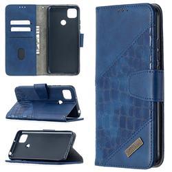 BinfenColor BF04 Color Block Stitching Crocodile Leather Case Cover for Xiaomi Redmi 9C - Blue