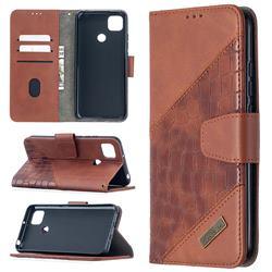 BinfenColor BF04 Color Block Stitching Crocodile Leather Case Cover for Xiaomi Redmi 9C - Brown