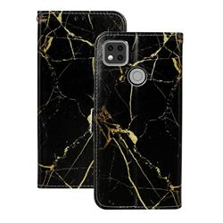 Black Gold Marble PU Leather Wallet Case for Xiaomi Redmi 9C