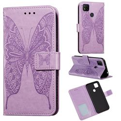 Intricate Embossing Vivid Butterfly Leather Wallet Case for Xiaomi Redmi 9C - Purple
