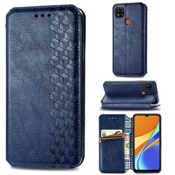 Ultra Slim Fashion Business Card Magnetic Automatic Suction Leather Flip Cover for Xiaomi Redmi 9C - Dark Blue