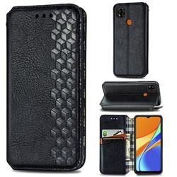 Ultra Slim Fashion Business Card Magnetic Automatic Suction Leather Flip Cover for Xiaomi Redmi 9C - Black