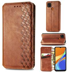 Ultra Slim Fashion Business Card Magnetic Automatic Suction Leather Flip Cover for Xiaomi Redmi 9C - Brown