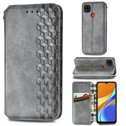 Ultra Slim Fashion Business Card Magnetic Automatic Suction Leather Flip Cover for Xiaomi Redmi 9C - Grey