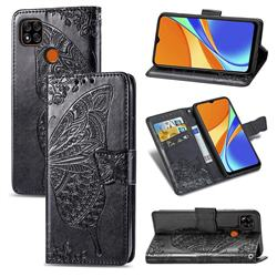 Embossing Mandala Flower Butterfly Leather Wallet Case for Xiaomi Redmi 9C - Black