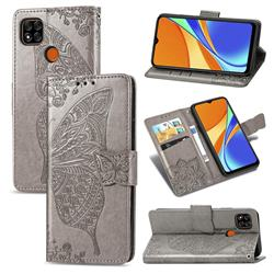 Embossing Mandala Flower Butterfly Leather Wallet Case for Xiaomi Redmi 9C - Gray