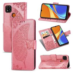 Embossing Mandala Flower Butterfly Leather Wallet Case for Xiaomi Redmi 9C - Pink