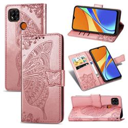 Embossing Mandala Flower Butterfly Leather Wallet Case for Xiaomi Redmi 9C - Rose Gold