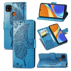 Embossing Mandala Flower Butterfly Leather Wallet Case for Xiaomi Redmi 9C - Blue